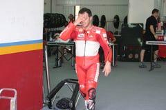 Loris Capirossi in Doos Ducati (Valencia, 2007) Stock Afbeeldingen