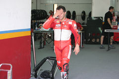Loris Capirossi na caixa de Ducati (Valença, 2007) Imagens de Stock