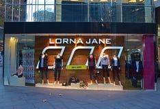 Lorna Jane är en producent och en återförsäljare av främst activewearen för kvinna` s royaltyfria bilder