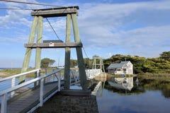 Lorne Swing Bridge and Boathouse in Victoria Australia. Landscape view of the Swing Bridge and Boathouse on Erskine river in Lorne Victoria Australia stock photos