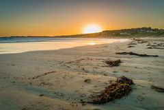 Lornestrand in Victoria, Australië, bij zonsondergang Stock Foto's