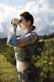 lornetki kobieta Fotografia Stock