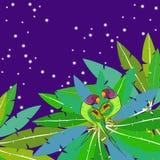 Loro ozherelovy del loro anillado indio en el cielo de la estrella en la palma Fotografía de archivo libre de regalías