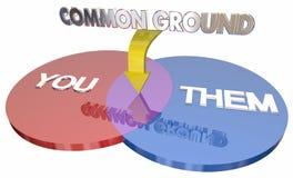 Loro terreno di intesa avete diviso gli interessi Venn Diagram 3d Illustra Immagine Stock