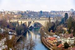 Lorrainebrucke and Lorraineviadukt bridges in Bern Stock Image
