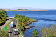 Lorries on A85 at Connel near Oban, Scotland Stock Images