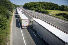 Lorries Parked on the M20 in Operation Stack Stock Image