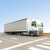 Lorry. Big and long lorry truck at street royalty free stock photography