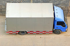 Lorry. Parked beside the road from above royalty free stock images