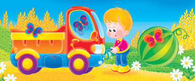 Lorry. Children's book illustration for yours design, postcard, album, cover, scrapbook, etc Royalty Free Stock Photography