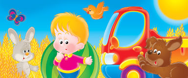 Lorry. Children's book illustration for yours design, postcard, album, cover, scrapbook, etc Royalty Free Stock Photos