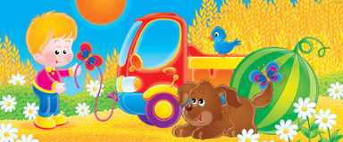 Lorry. Children's book illustration for yours design, postcard, album, cover, scrapbook, etc Royalty Free Stock Image