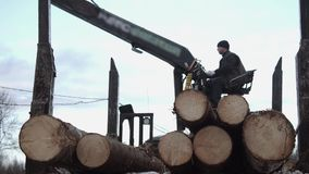 Lorry arm loader unloads wood logs from heavy truck at sawmill factory. Cold cloudy winter day stock footage