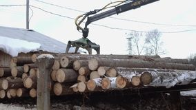 Lorry arm loader unloads wood logs from heavy truck at woodwork factory. Cold cloudy winter day stock video footage