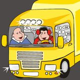 Lorry - cab. Two drivers are in yellow cab truck Stock Photography