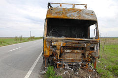 Lorry cabin fire Stock Photography
