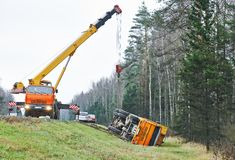 Lorry car crash accident Stock Photography