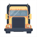 Lorry car front view. Heavy american style truck for transportation objects. Dlelivery truck. Road train. Lorry car front view. Heavy truck for transportation Royalty Free Stock Photo
