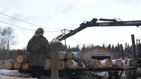 Lorry claw loader unloads timber logs from heavy truck at sawmill facility. Cold cloudy winter day stock video footage
