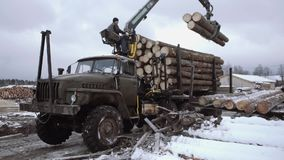 Lorry claw loader unloads wood logs from heavy truck at sawmill production. Cold cloudy winter day stock footage