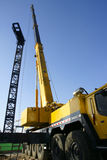 Lorry crane. Yellow lorry crane is working Royalty Free Stock Images
