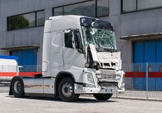The lorry crashed windshield. Broken truck. Camion after the accident. stock photo