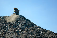Lorry delivering dumping rock Stock Image