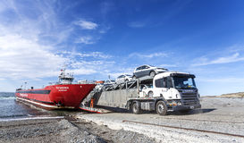 Lorry departing ferry. Stock Photography