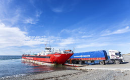 Lorry departing ferry. Royalty Free Stock Photo