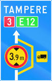 Lorry Detour In Finland. Finnish road sign no. 614. Advisory sign for lorry detour Stock Photography