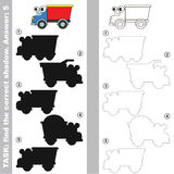 Lorry. Find true correct shadow. Lorry with different shadows to find the correct one. Compare and connect object with it true shadow. Easy educational kid Royalty Free Stock Photo