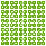 100 lorry icons hexagon green. 100 lorry icons set in green hexagon isolated vector illustration Stock Images