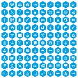 100 lorry icons set blue. 100 lorry icons set in blue hexagon isolated vector illustration Royalty Free Stock Photography