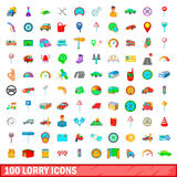 100 lorry icons set, cartoon style. 100 lorry icons set in cartoon style for any design vector illustration Royalty Free Stock Image