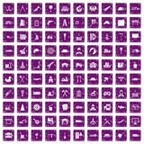 100 lorry icons set grunge purple. 100 lorry icons set in grunge style purple color isolated on white background vector illustration stock illustration