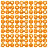 100 lorry icons set orange. 100 lorry icons set in orange circle isolated on white vector illustration Stock Illustration