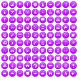 100 lorry icons set purple. 100 lorry icons set in purple circle isolated on white vector illustration royalty free illustration