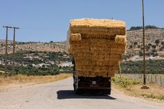 Lorry laden with straw, Morocco Stock Photo