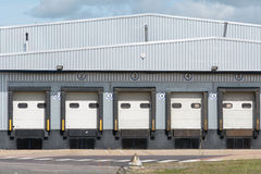 Lorry loading bays at industrial unit Royalty Free Stock Photography