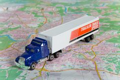 Lorry on a map Stock Images