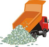 Lorry with money. Vector picture on which is expressed dump truck unloading heap of the money Royalty Free Stock Image