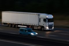 Lorry on the motorway at night Royalty Free Stock Photo