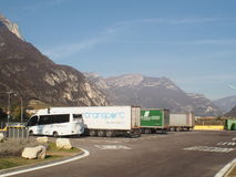 Lorry park on motorway on highlands Royalty Free Stock Image