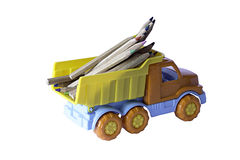 Lorry with pencils Royalty Free Stock Image