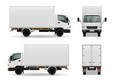 Lorry Realistic Advertising Mockup. Lorry with blank surface realistic advertising mockup side view, front and rear on white background vector illustration Royalty Free Stock Image