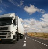 Lorry on road. Lorry with the container on road royalty free stock photos