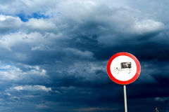Lorry Road Sign and Overcast Sky Stock Photography