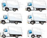 Lorry set. Set of trucks for transportation of goods for different purposes Royalty Free Stock Image