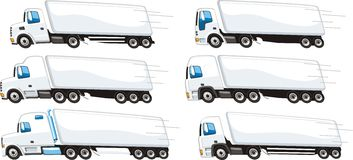 Lorry set. Set of trucks for transportation of goods for different purposes Royalty Free Stock Photography