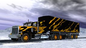 Lorry on snow. Scene of the lorry on snow Executed in 3 D Stock Photography